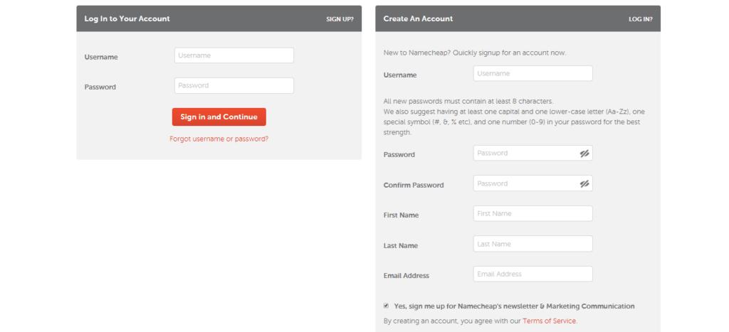 Create Namecheap Account