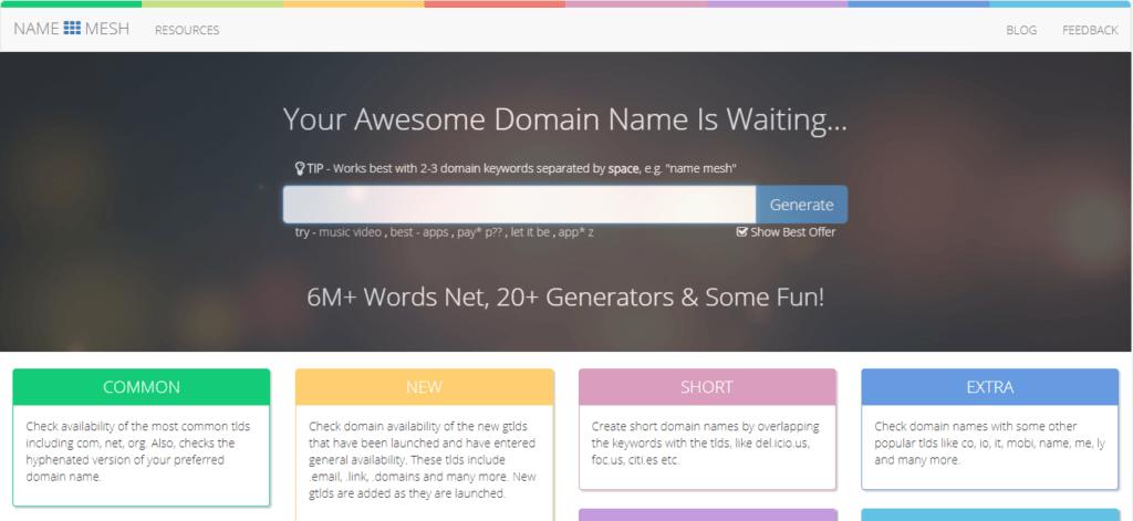Namemesh Best domain name suggestion tool