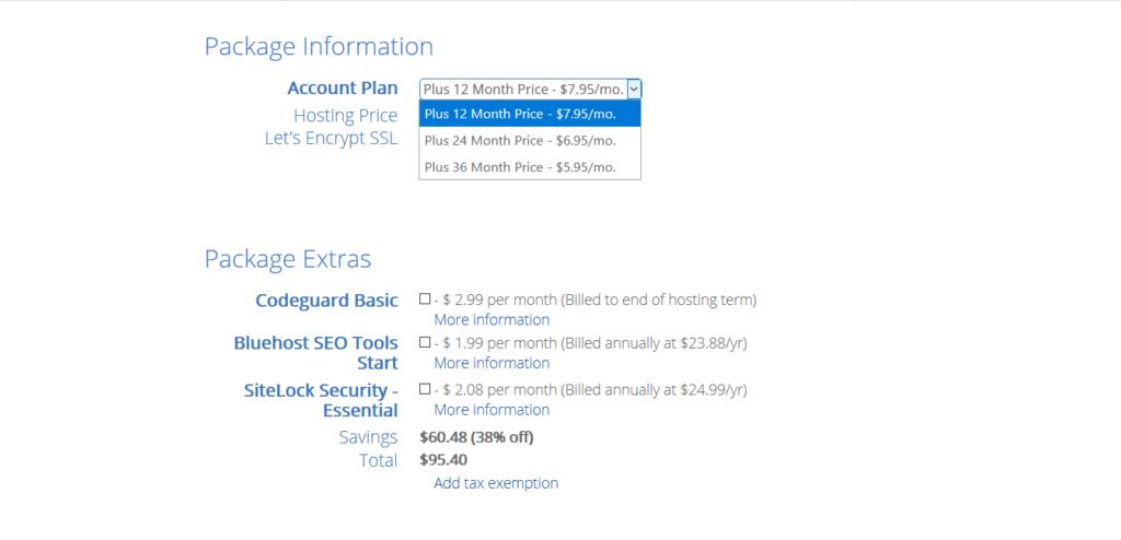 Bluehost Hosting Plan Details