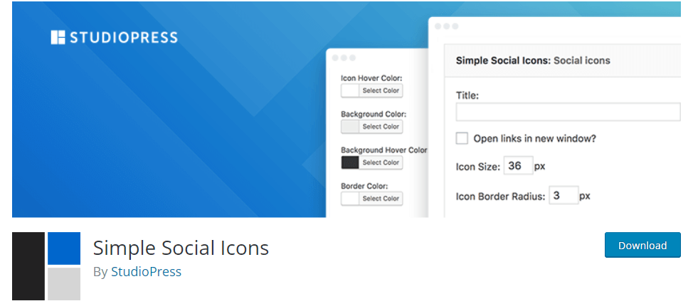 Simple Social Icons WordPress Plugin