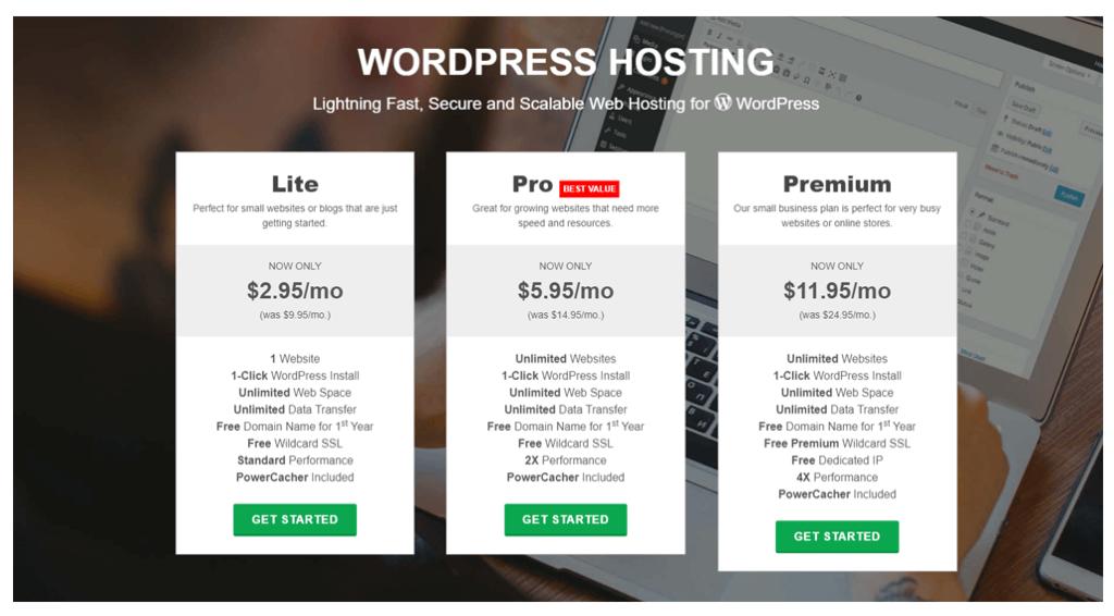 Greengeeks WordPress hosting page