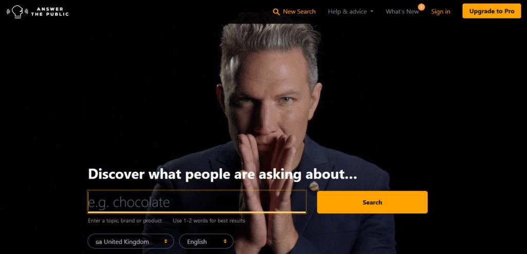 AnswerThePublic Keyword research tool
