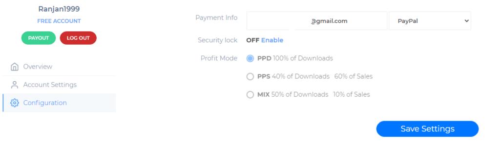 Set your Profit Mode and Payment details