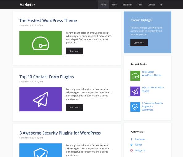 GeneratePress Free Blog Theme