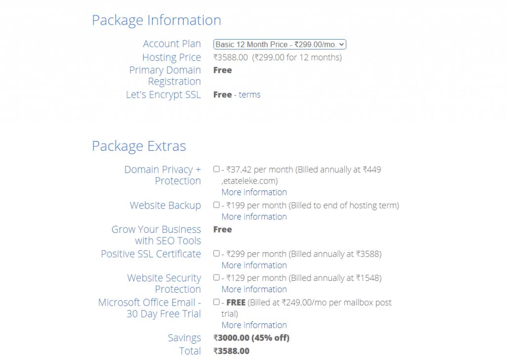 Hosting Package Information