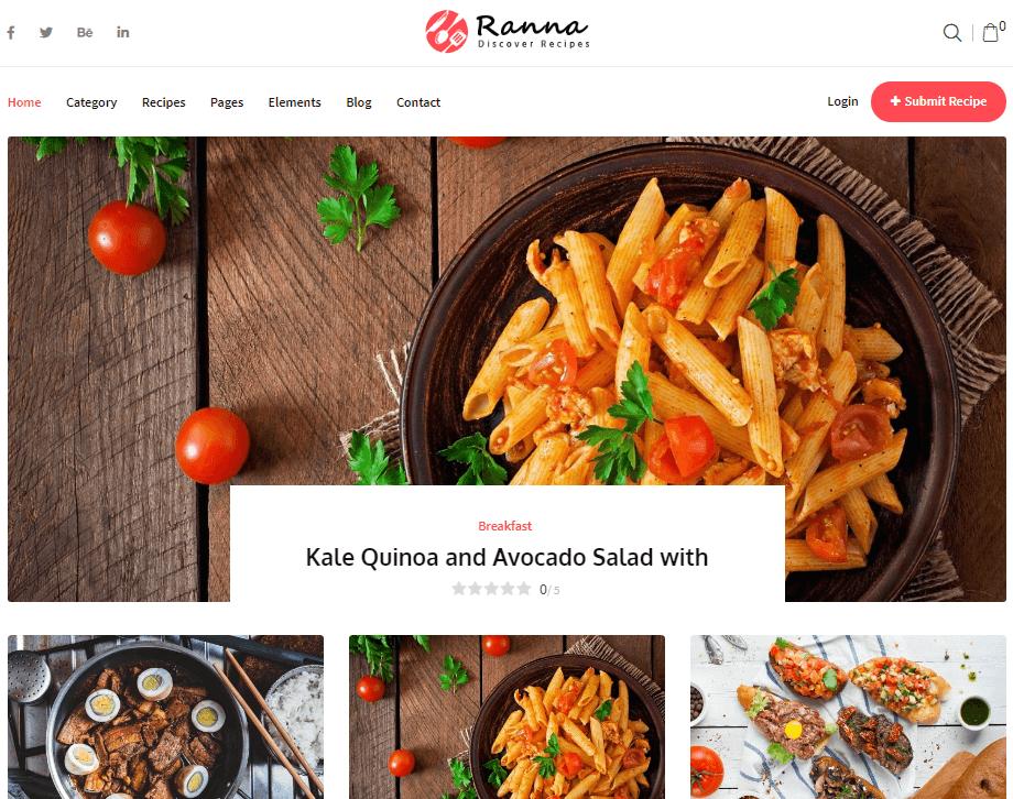 Ranna - Food & Recipe WordPress Theme