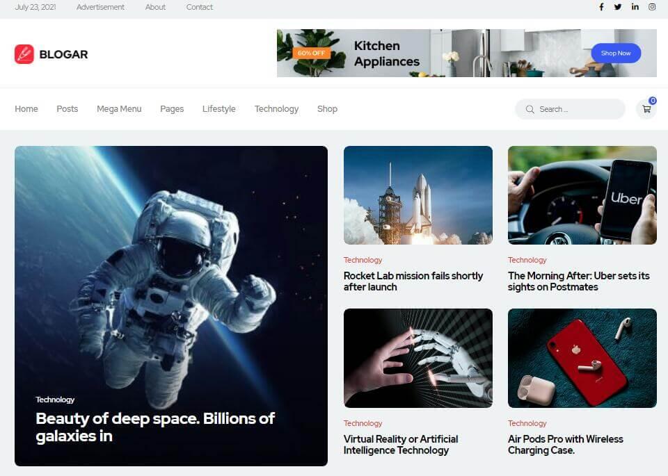 Blogar - Tech Blog Magazine WordPress Theme