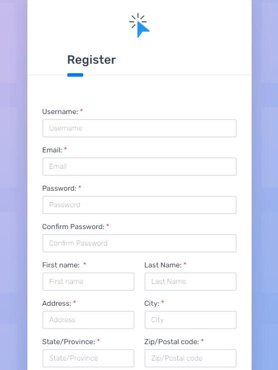Clicks Genie Register Form