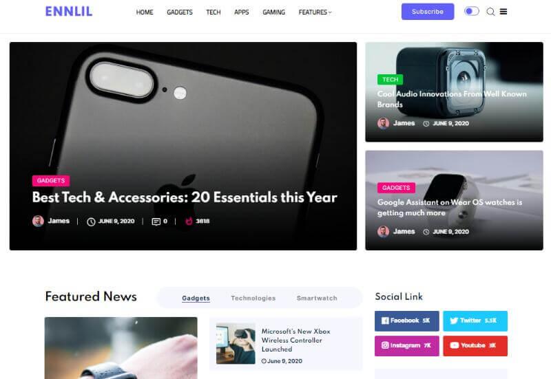 Ennlil - Modern Magazine WordPress Theme