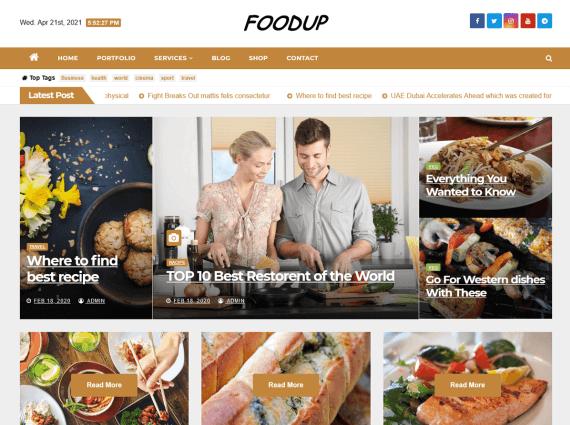 FoodUp - Free Food Blog Theme