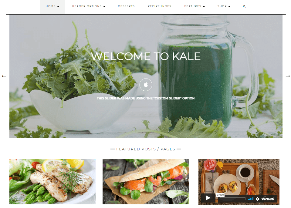 Kale - The Perfect Food Blog Theme