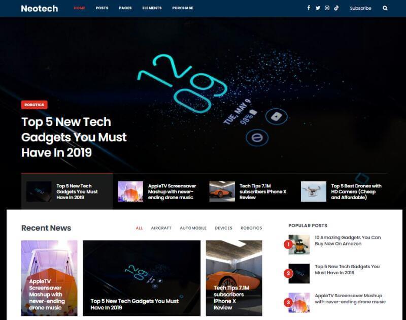 Neotech - WordPress Tech Blog Theme