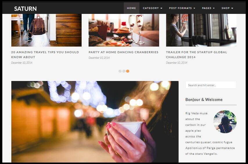 SATURN - A Personal/Travel WordPress Blog Theme