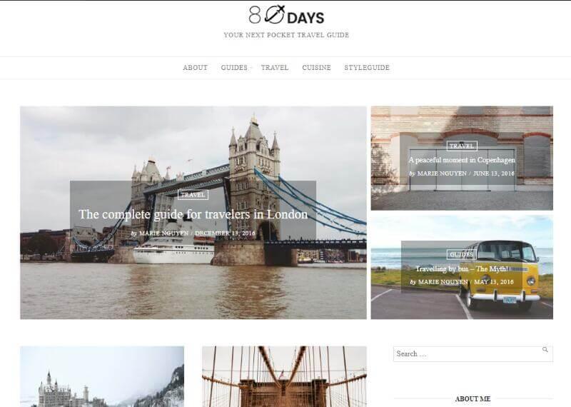 EightyDays - A WordPress Theme For Travel Blogs