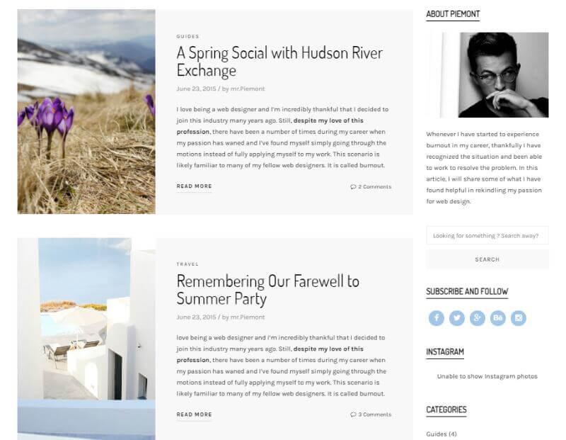 Piemont - Premium Travel Blog Theme