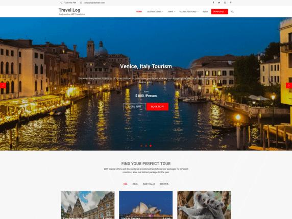 Travel Log WordPress Theme